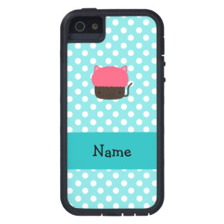 Personalized name cat cupcake light blue polka dot iPhone 5 cases