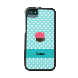 Personalized name cat cupcake light blue polka dot case for iPhone 5