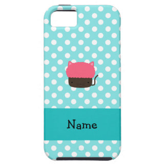 Personalized name cat cupcake light blue polka dot iPhone 5 covers