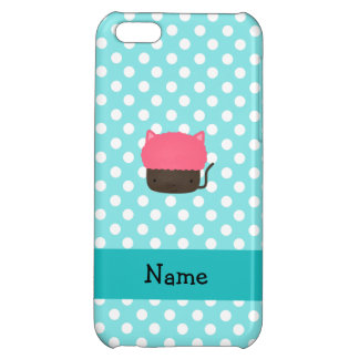 Personalized name cat cupcake light blue polka dot iPhone 5C cover