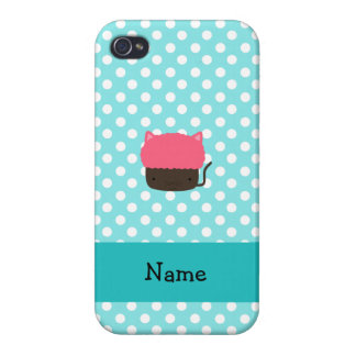 Personalized name cat cupcake light blue polka dot iPhone 4 cases