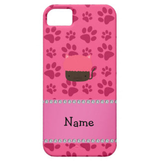 Personalized name cat cupcake pink paws iPhone 5 cases