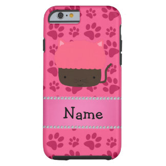 Personalized name cat cupcake pink paws tough iPhone 6 case