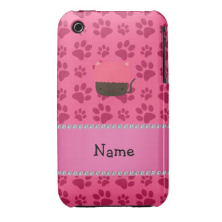 Personalized name cat cupcake pink paws iPhone 3 case