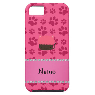 Personalized name cat cupcake pink paws iPhone 5 cover