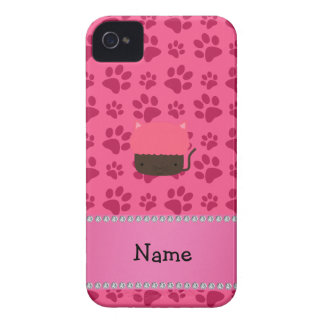 Personalized name cat cupcake pink paws iPhone 4 covers