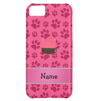 Personalized name cat cupcake pink paws case for iPhone 5C