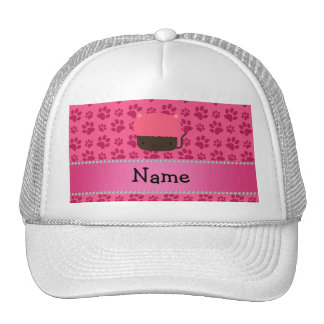 Personalized name cat cupcake pink paws mesh hats