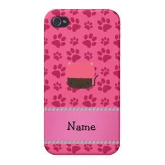 Personalized name cat cupcake pink paws iPhone 4 cover