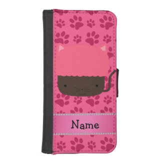 Personalized name cat cupcake pink paws iPhone 5 wallet case