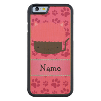 Personalized name cat cupcake pink paws carved® maple iPhone 6 bumper case
