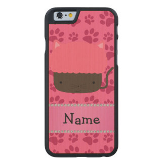 Personalized name cat cupcake pink paws carved® maple iPhone 6 case