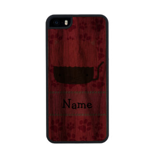 Personalized name cat cupcake pink paws carved® walnut iPhone 5 case