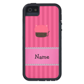 Personalized name cat cupcake pink stripes cover for iPhone 5