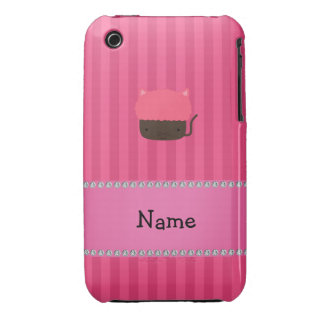 Personalized name cat cupcake pink stripes iPhone 3 Case-Mate case