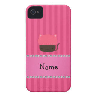 Personalized name cat cupcake pink stripes iPhone 4 cover