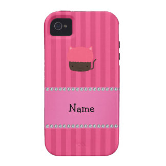 Personalized name cat cupcake pink stripes iPhone 4/4S covers