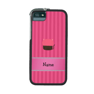 Personalized name cat cupcake pink stripes iPhone 5 cases