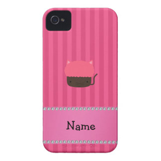 Personalized name cat cupcake pink stripes iPhone 4 Case-Mate cases