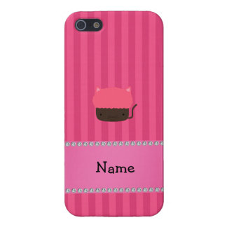 Personalized name cat cupcake pink stripes cases for iPhone 5