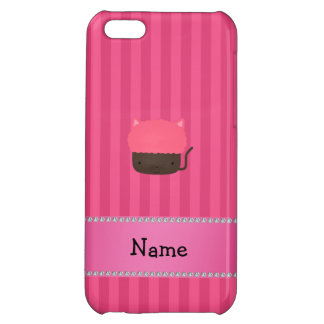 Personalized name cat cupcake pink stripes cover for iPhone 5C
