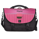 Personalized name cat cupcake pink stripes commuter bags