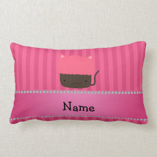 Personalized name cat cupcake pink stripes throw pillow