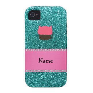 Personalized name cat cupcake robin blue glitter Case-Mate iPhone 4 covers
