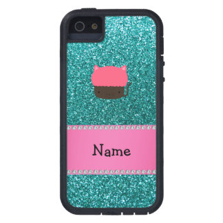 Personalized name cat cupcake robin blue glitter case for iPhone 5
