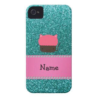 Personalized name cat cupcake robin blue glitter iPhone 4 cover
