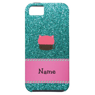 Personalized name cat cupcake robin blue glitter iPhone 5 cases