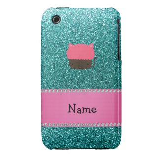 Personalized name cat cupcake robin blue glitter iPhone 3 cover