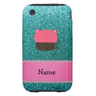 Personalized name cat cupcake robin blue glitter tough iPhone 3 cases