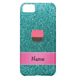 Personalized name cat cupcake robin blue glitter cover for iPhone 5C