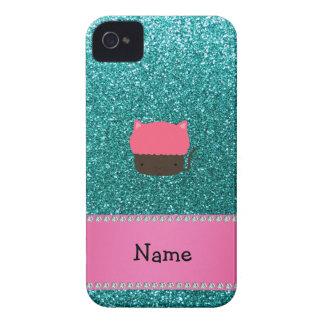 Personalized name cat cupcake robin blue glitter iPhone 4 Case-Mate cases
