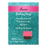 """Personalized name cat cupcake robin blue glitter 5"""" x 7"""" invitation card"""