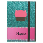 Personalized name cat cupcake robin blue glitter iPad air cases