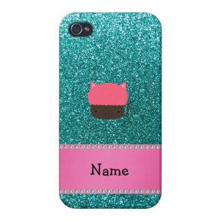Personalized name cat cupcake robin blue glitter iPhone 4 covers