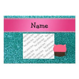 Personalized name cat cupcake robin blue glitter photo