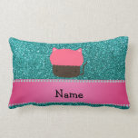Personalized name cat cupcake robin blue glitter throw pillow