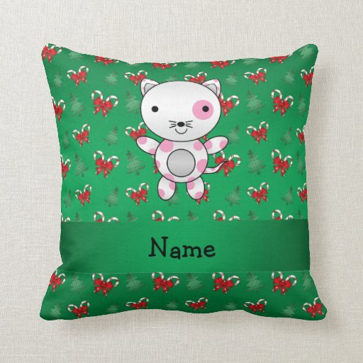 Personalized name cat green candy canes bows throw pillows