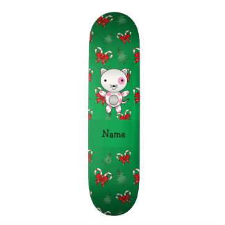 Personalized name cat green candy canes bows skate decks