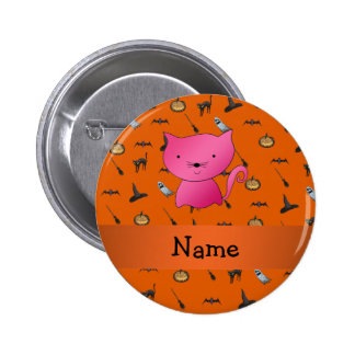 Personalized name cat halloween pattern 2 inch round button