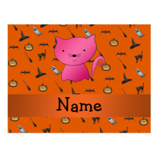 Personalized name cat halloween pattern postcard