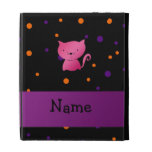 Personalized name cat halloween polka dots iPad cases