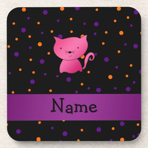 Personalized name cat halloween polka dots beverage coasters