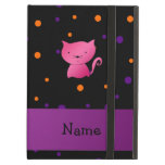 Personalized name cat halloween polka dots iPad folio case