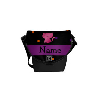 Personalized name cat halloween polka dots messenger bags