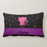 Personalized name cat halloween polka dots throw pillows