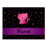Personalized name cat halloween polka dots postcard